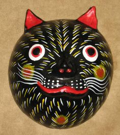 Mexican Coconut mask, black feline with red ears