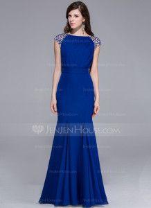 35727c4caed   Trumpet Mermaid Scoop Neck Floor-Length Chiffon Evening Dress With Beading