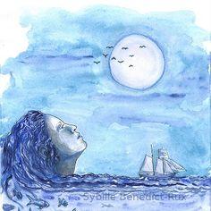 Handgemalte Aquarell-Illustration: Sehnsucht nach Meer