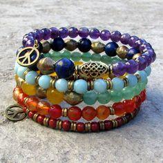 Chakra, genuine gemstone multilayer bracelet, #loveprayjewelry
