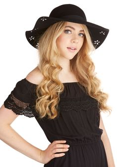 Lodge and Ends Hat. Youre spending the afternoon searching for the perfect antiques to complement your cabins decor, and the black hat youre sporting is as lovely as your newfound vintage treasures! #black #modcloth