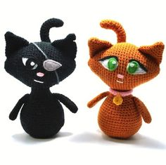 HERE THEY ARE......Part 2...... Black & Ginger Cat Couple from the back with the cutest tails in the world ..... It turns out the prim and proper nice girl likes the naughty boy type.  Who know???!!!   These cats were designed by, made by, pattern by and on the website of Kim Lapsley Crochets...