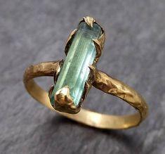 Raw Green Tourmaline yellow Gold Ring Rough Uncut Gemstone