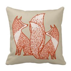 Rust Red and Ivory Foxes Pillows