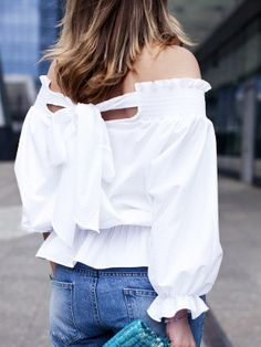 White Off The Shoulder Bow Back Blouse