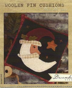 primitive wool applique patterns | Primitive Folk Art Wool Applique Pattern: DECEMBER - Woolen PIN ...