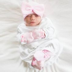 Big Bow Pink and White Striped Receiving Nursery Hat, Mittens and Booties SET for Newborn Girls #Melondipity