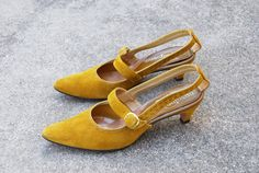 vintage 60s Heels  Mustard Suede Maryjanes  Cut Out by jessamity, $32.00