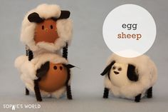 "These little animals are pretty ""egg-citing"". Take your blown out Easter eggs and creative some fuzzy little sheep friends."
