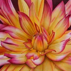 "Painting on Silk  ""Dahlia"" - mounted 40cm square    ©2008 Leonard Thompson"