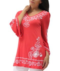 Take a look at this Living Coral Embroidered Paige Tunic - Plus on zulily today!