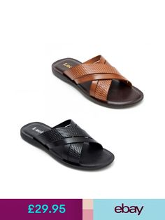Lucini Italia Fashion Sandals #ebay #Clothes, Shoes & Accessories Leather Slippers, Leather Flats, Gents Slippers, Flip Flop Shoes, Flip Flops, Beaded Sandals, Fashion Sandals, Womens Slippers, Men's Shoes