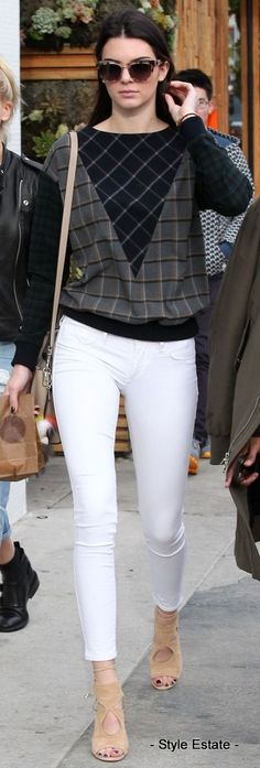 Kendall Jenner sported white skinny jeans paired with a Band of Outsiders gray multicolor mixed-plaid flannel sweatshirt. -- 52 Great Kendall Jenner Street Style Outfits @styleestate