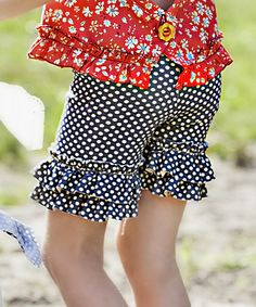 Look at this #zulilyfind! Navy Dot Ruffle Shorts - Toddler & Girls #zulilyfinds