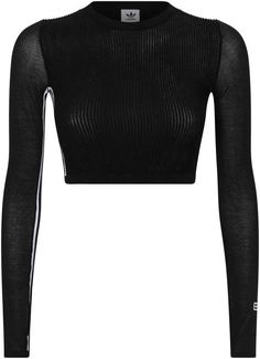 Harrods, designer clothing, luxury gifts and fashion accessories Kpop Fashion Outfits, Sporty Outfits, Mesh Long Sleeve, Long Sleeve Crop Top, Funny Outfits, Adidas Outfit, Crop Top Outfits, Short Tops, Fashion 2020