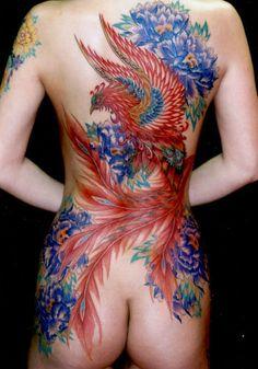 Tattoo Fenix com Flores Azuis fullback