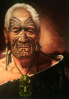 "Oil on canvas painting by deSotogi entitled ""Shadows of Glory"" Maori Face Tattoo, New Zealand Tattoo, Maori People, Warrior Drawing, Maori Designs, Piercings, Nz Art, Old Faces, Maori Art"