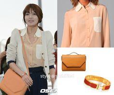 See by Chloe: Colorblock ButtonDown Blouse  |  Hermes: Clic H Enamel Bracelet – Coral Red  |  Double M: WDSHS107ORLC01