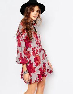 Free+People+Shake+it+Printed+Mini+Long+Sleeve+Dress