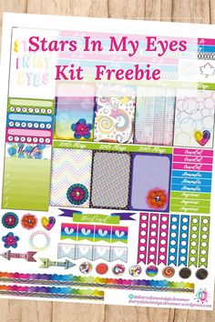 Colors explode in this Lisa Frank inspired Stars In My Eyes Kit Freebie for Happy Planner.