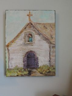 "Religious Acrylic Art on Canvas ""Little Church Donuts Built "" OOAK on Etsy, $56.00"