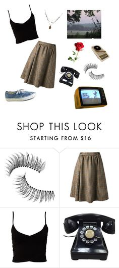 """""""pathetic girl"""" by madelunaa ❤ liked on Polyvore featuring Trish McEvoy, Anonyme, Vans, Estradeur and 1928"""