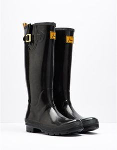 87697a13edd611 FIELDWELYGLWomens Glossy Rain Boot Wellies Black Wellies