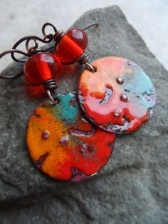 Fiesta ... Lampwork and Enameled Copper by juliethelen on Etsy