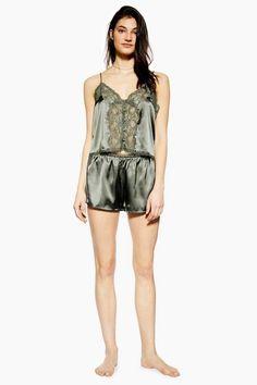 Look stylish with these khaki delicate lace satin shorts. Topshop Jeans, Topshop Outfit, Satin Shorts, Lace Shorts, Topshop Style, Seamless Underwear, Satin Pyjama Set, Loungewear Set, Women Lingerie