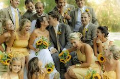 grey and yellow! I sort of love this! The different bridesmaid dresses is the icing on the cake!!! Beautiful!!