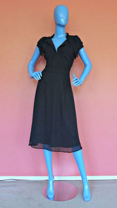 Overlayed Navy Silk Dress M 8 10 Swiss Dot Textured Fairy Occasion Slimming  #HannaAndGracie #Sheer #Festive