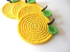Yellow Apple Crochet Coasters, but you can make them in other colors too!