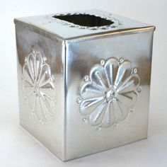 Tinwork Tissue Box Cover, Handcrafted by Jason Younis y Delgado, New Mexico – Dogwood Box