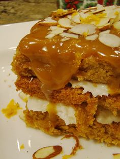 Spiced Pumpkin Cake with Citrus Cream Cheese Frosting Topped with Vegan Caramel