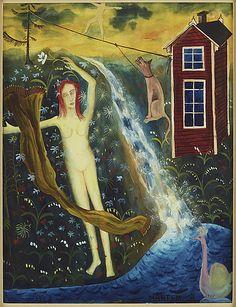 Mårten Andersson: Flicka vid fors, 1958, akvarell med täckvitt på papper, 34x26 cm - Bukowskis Market 11/2016
