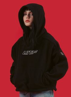 """The BOX hoodie features a super boxy fit with embroidered UNIF on the chest and """""""" detailing on the sleeves. Aesthetic Clothes, Aesthetic Girl, Unif Clothing, Tumblr Outfits, Fit Women, Casual, Sweaters For Women, Women's Sweaters, Cute Outfits"""