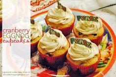 Cranberry Eggnog Cupcakes  {with printable recipe card}, #HolidayBaking, #cupcakes, #cupcake