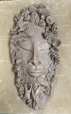 R. Wolff hand built clay mask.