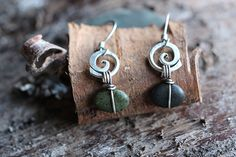 Spiral and river stone hook earrings by rebeccabashara on Etsy, $64.00
