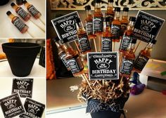 Jack Daniels Booze Bouquet - get cupcakes and JD Fudge Recipe in the post too.