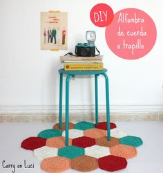 Hexagon rug tutorial, in Spanish, by Carry on Luci