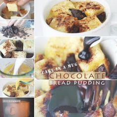 Cake In A Mug - 5-Minute Chocolate Bread Pudding - Microwave Recipe