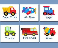 Transportation Wall Art, Transportation Nursery Wall Art,Transportation Decor,Construction Cars Planes Train Fire Truck Art,Trains, Planes and Trucks -UNFRAMED set of 6 PRINTS (NOT CANVAS)