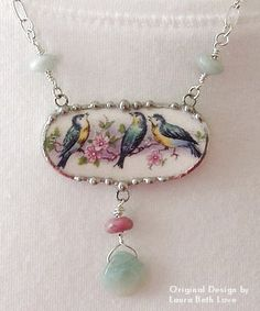 Vintage China Dishfunctional Designs: Birds On Vintage China Patterns (broken china jewelry by Laura Beth Love) - Creative ideas in crafts and upcycled, innovative, repurposed art and home decor. Jewelry Crafts, Jewelry Art, Beaded Jewelry, Jewelry Necklaces, Jewelry Design, Bracelets, Gold Jewellery, Jewlery, Silver Jewelry