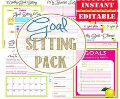 Goal Planning Printables  - Home Management Binder - INSTANT and EDITABLE - 13 Documents