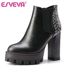 33.60$  Buy here - http://ai2tq.worlditems.win/all/product.php?id=32714423408 - ESVEVA  2016 Women PU Boots Rivets Punk Shoes Square High Heel Ankle Boots Round Toe Ladies Platform Motorcycle Boots Size 34-42