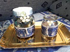 barattolo in vetro porta pot-pourri e porta candela decorati con perline e tessuto