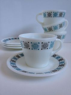 JAJ British Pyrex Chelsea Teacups and Saucers by TheGinghamKitchen
