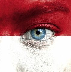 Picture of Human face painted with flag of Indonesia stock photo, images and stock photography. Flag Face, Human Pictures, Coloured People, Flag Colors, Banner Printing, Facebook Image, Image Photography, Red And White, 1