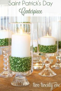 DIY hurricane candles with green split peas, DIY St. Patrick's Day centerpiece. More ideas on Dagmar's Home, DagmarBleasdale.com